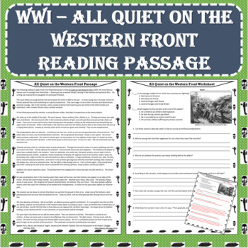 World War I (WWI) - All Quiet on the Western Front Reading Passage