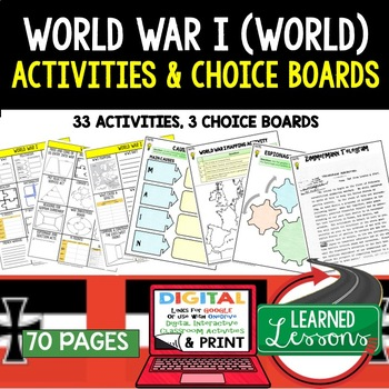 World War I (WWI) Choice Board Activities (Paper and Google) World History