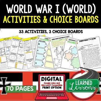 World War I (WWI) Activities, Choice Board, Print & Google World History