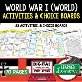 World War I (WWI) Activities, Choice Board, Print & Google