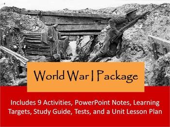 World War I WWI Unit Notes, Activities, & Test Bundle