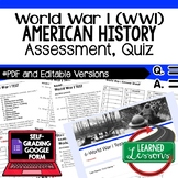 World War I, WWI Test, World War I, WWI Quiz, American History Assessment