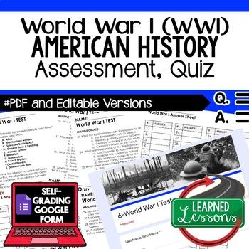 World War I, WWI Test, World War I, WWI Quiz, American History Assessment