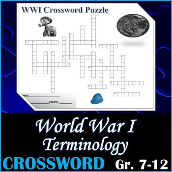World War I WWI (WW1) Terminology Crossword Puzzle Activity Worksheet