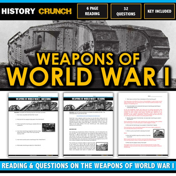 World War I Weapons - Reading, Questions and Key (Gas, Tank, Plane, etc)