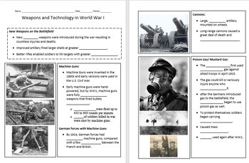 World War I - Weapons and Technology Lesson