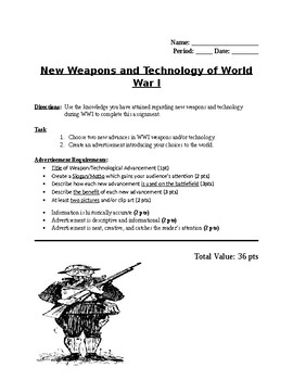 World War I Weapons and Technology Activity