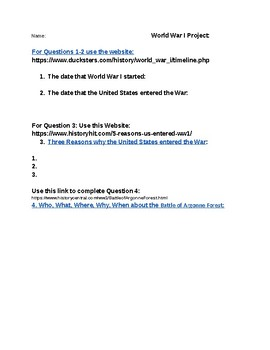 World War I Web Quest and Project