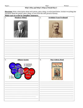 World War I: Who's Who and What's What Assignment