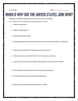 Why did the United States join World War I? - Reading & Questions with Key