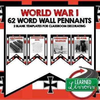 World War I Word Wall Pennants (World History)