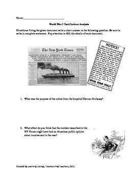 World War I Worksheet-Cartoon Analysis