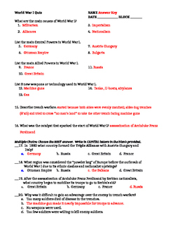 World War I Worksheet (WWI Worksheet)