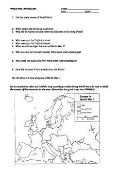 World War 1 Worksheets | Teachers Pay Teachers