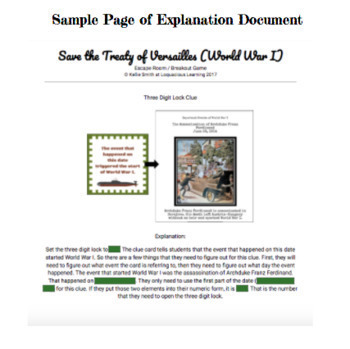 Save the Treaty of Versailles World War I Customizable Escape Room/Breakout Game