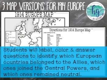 World War I (World War 1) 1914 and 1918 Europe Maps