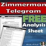 World War I: Zimmerman Telegram Analysis FREEBIE