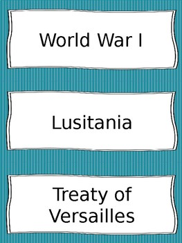 World War I and 1920s Vocabulary Cards - SS5H2, SS5E1
