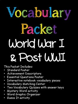 World War I and 1920s Vocabulary Packet
