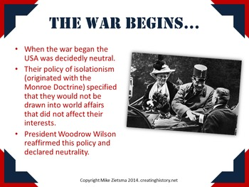World War One/First World War and USA - Clear and Attractive Powerpoint Lecture!