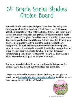 World War I and Great Depression Choice Board
