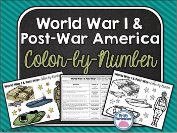 World War I and Post-War America: Color-by-Number Activity