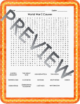 World War I and Roaring 20's Word Searches