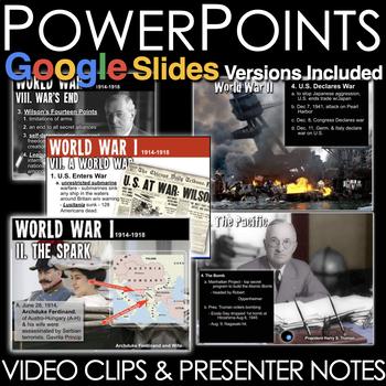 World War I Unit & World War 2 Unit -PowerPoints, Worksheets, Lesson Plans+Tests