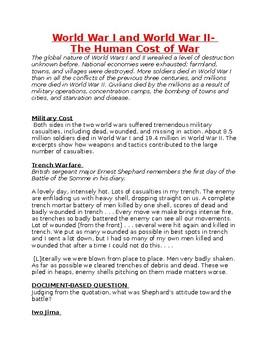 World War I and World War II- the Human Cost of War - Worksheet
