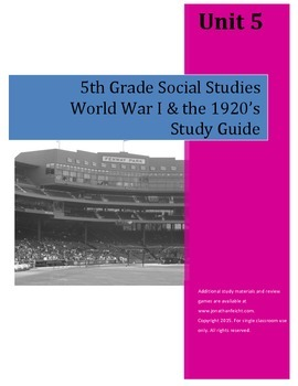 World War I and the 1920's Study Guide--5th Grade Social Studies