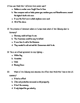 World War I and the Jazz Age Roaring Twenties Test Assessment SS5H4