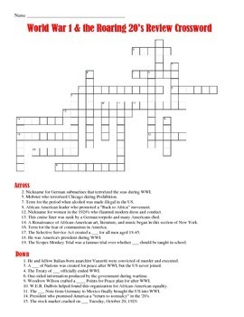 World War I and the Roaring 20's Crossword Puzzle