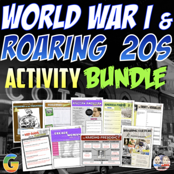 World War I and the Roaring Twenties Unit Activity Bundle (Activities Only)
