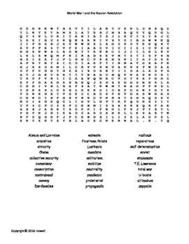 World War I and the Russian Revolution Word Search for World History