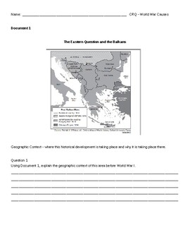 World War I assessments - CRQ, exam, quiz, enduring issues paragraph