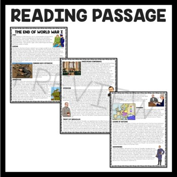 World War I- end of the war Treaty of Versailles reading comprehension worksheet