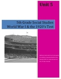 World War I & the 1920's Test-5th Grade Social Studies