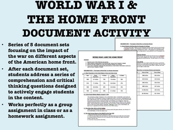 World War I & the Home Front Document Activity - US History/APUSH