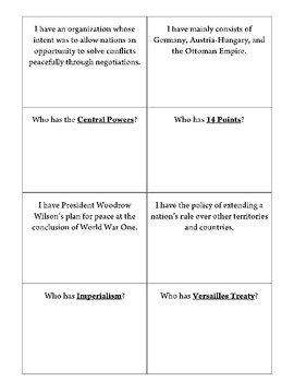 World War I vocabulary loop game I have, who has?