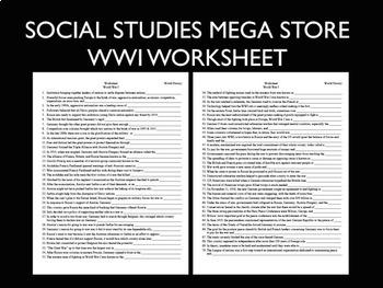 World War I Worksheet