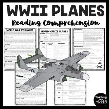 World War II (2)  Planes Reading Comprehension Worksheet, Aircrafts