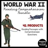 World War II (2) Reading Comprehension Bundle- 40 Articles- Questions, DBQ