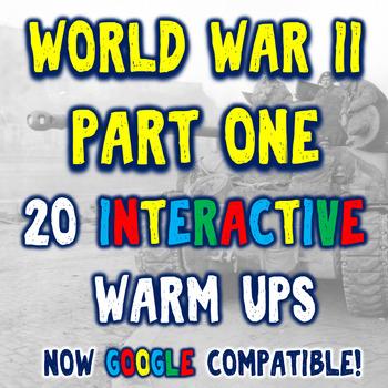 World War II 20 Bellringers Warm Ups - DBQ - Part One - 2 Formats