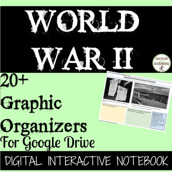 World War II 20+ Digital Interactive Notebook Graphic Organizers for WWII Unit