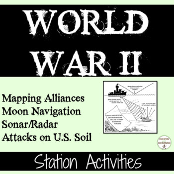 World War II 4 Station Activities on World War II Maps & Military