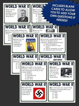 World War II - 48 Task Cards with Answer Sheet (Great for Review)