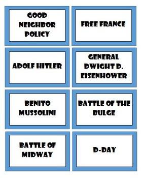 World War II Activities Bundle - Trading Cards, Game Show Review, & Headbands