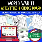 World War II Activity Choice Boards & Activity Pages with Google Link US History