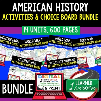 World War II Activity Choice Boards, Print & Digital Distance Learning