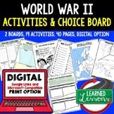 World War II Activity Choice Boards, Print & Digital Dista
